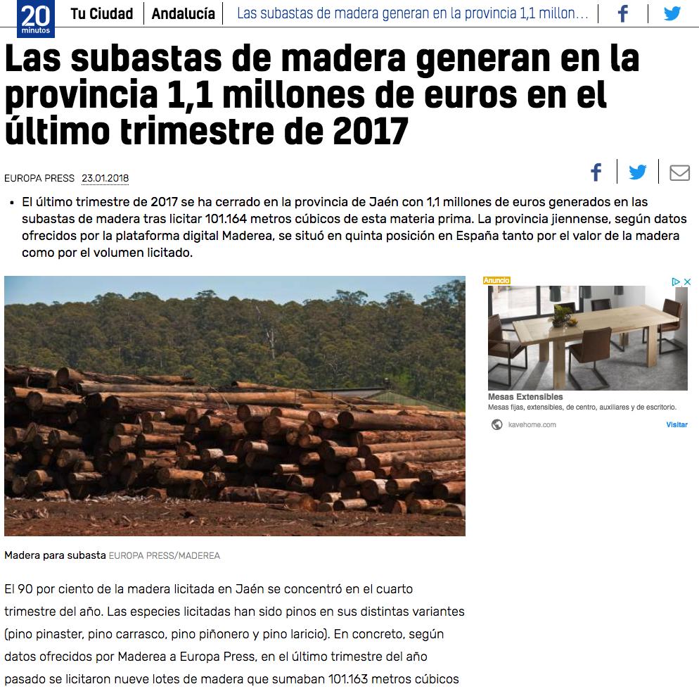 precio madera subastas