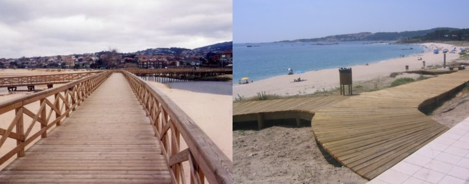 pasarela de playa de madera